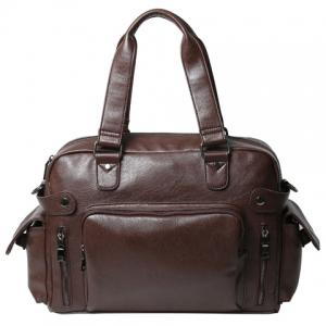 Leisure PU Leather and Zipper Design Briefcase For Men - Coffee - 38