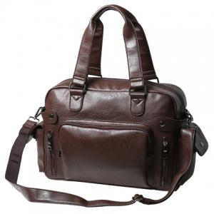 Leisure PU Leather and Zipper Design Briefcase For Men -