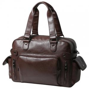 Leisure PU Leather and Zipper Design Briefcase For Men - COFFEE