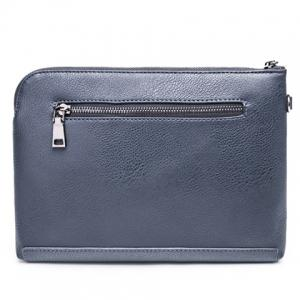 Casual Solid Colour and PU Leather Design Clutch Bag For Men - BLUE