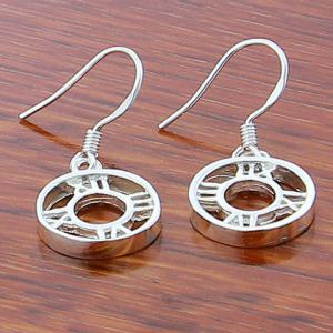 Pair of Round Roman Numerals Drop Earrings -