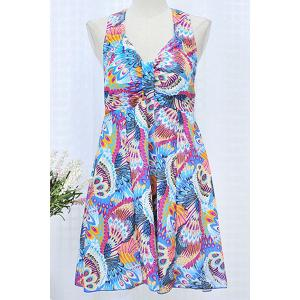 Chic Spaghetti Strap Sleeveless Criss-Cross Printed Women's Swimwear - LAKE BLUE L