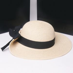 Fashionable Flanging Big Bowknot Embellished Straw Hat For Women -