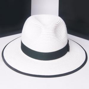 Stylish Solid Color Bowknot Embellished Straw Hat For Women -