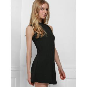 Simple Style Stand Collar Solid Color Tank Top Dress For Women -
