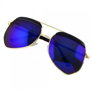 Chic Bar Embellished Metal Frame Sunglasses For Women -