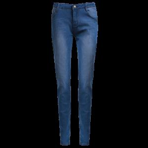High-Waisted Zipper Embellished Slimming Pencil Jeans For Women - Blue - M