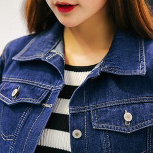 Boyfriend Style Turn-Down Collar Long Sleeve Hollow Out Denim Blue Jacket For Women -