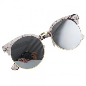Chic Stone Pattern Match Round Frame Sunglasses For Women -