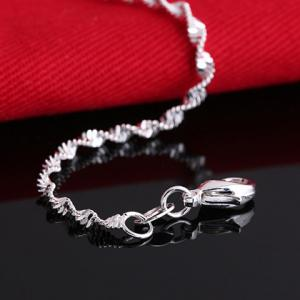 Charming Solid Color Wave Chain Anklet For Women -