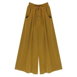 High-Waisted Plus Size Wide Leg Palazzo Pants - Ginger - M