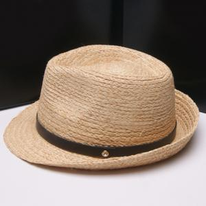 Fashionable Solid Color PU Band Embellished Straw Hat For Women -