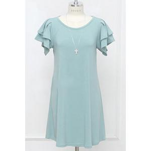 Chic Scoop Neck Butterfly Sleeve Plus Size Solid Color Women's Dress -