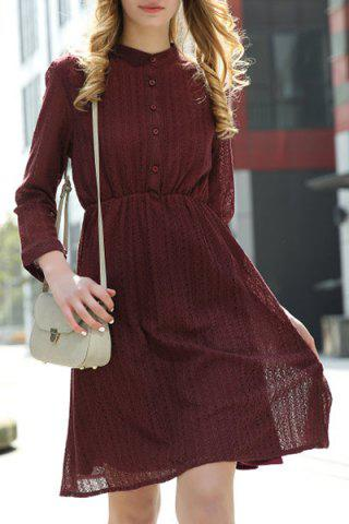 Best Women's Stylish Lace Shirt Collar Wine Red Long Sleeve Dress