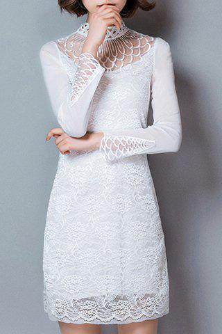 Hot Trendy Turtle Neck Long Sleeve Hollow Out Solid Color Women's Dress