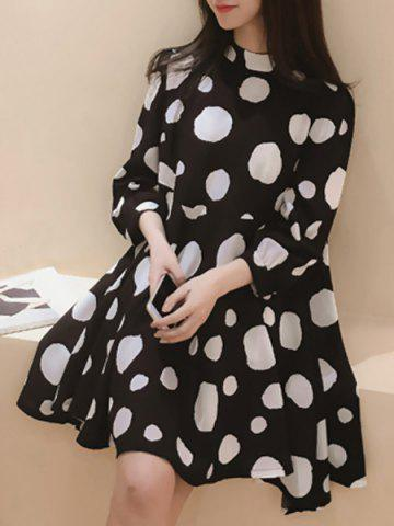 Discount Sweet Style Stand-Up Collar 3/4 Sleeve Polka Dot Chiffon Dress For Women