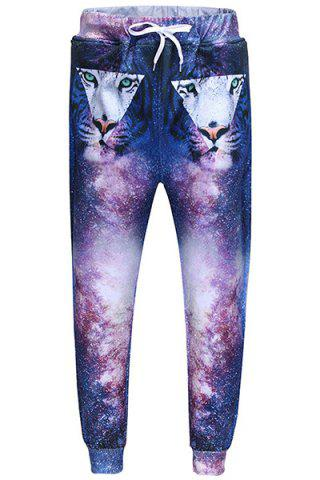 Affordable Men's Sports Style Triangle Tiger Printed Lace Up Narrow Feet Jogging Pants