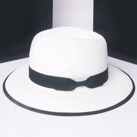 Shops Stylish Solid Color Bowknot Embellished Straw Hat For Women
