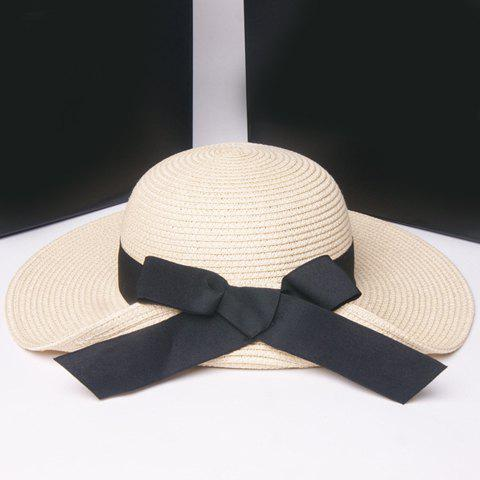 Outfit Fashionable Flanging Big Bowknot Embellished Straw Hat For Women