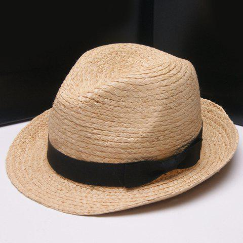 Buy Fashionable Solid Color Bowknot Embellished Straw Hat Women DESCRIPTION