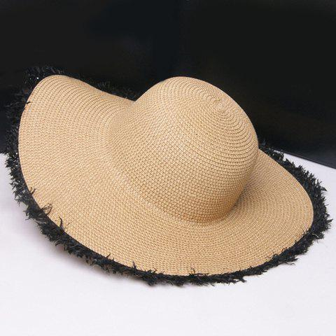 Shops Raw Edge Embellished Broad Brimmed Straw Hat - BLACK  Mobile