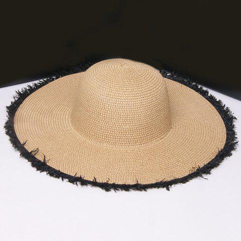 Best Raw Edge Embellished Broad Brimmed Straw Hat - BLACK  Mobile