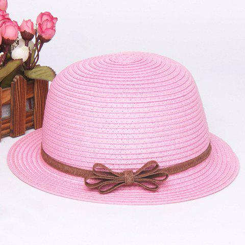 Fashion Fashionable Bowknot Embellished Solid Color Straw Hat For Children