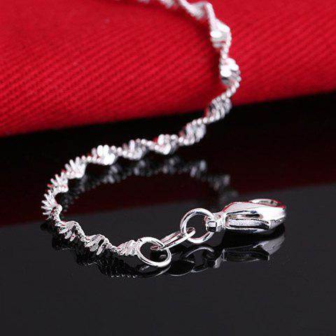Hot Charming Solid Color Wave Chain Anklet For Women - SILVER  Mobile