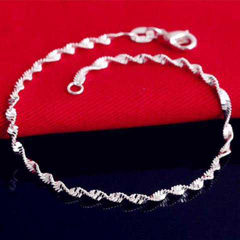 Shop Charming Solid Color Wave Chain Anklet For Women - SILVER  Mobile