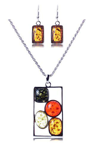 Discount A Suit of Geometric Faux Amber Necklace and Earrings