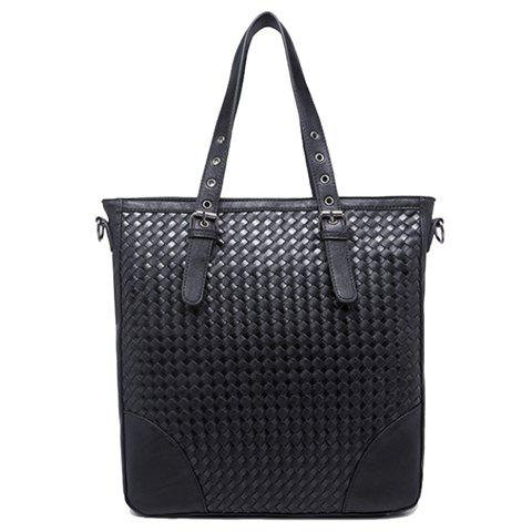 Sale Stylish Black Color and Weaving Design Briefcase For Men