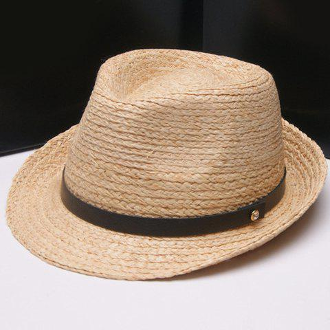 Online Fashionable Solid Color PU Band Embellished Straw Hat For Women