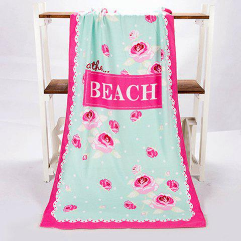 Fashionable Polka Dot Letter and Rose Pattern Rectangle Shape Beach Towel - ROSE