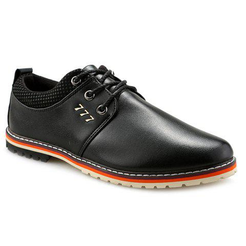 Hot Simple PU Leather and Lace-Up Design Formal Shoes For Men - 41 BLACK Mobile