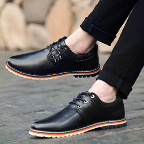 Cheap Simple PU Leather and Lace-Up Design Formal Shoes For Men - 41 BLACK Mobile