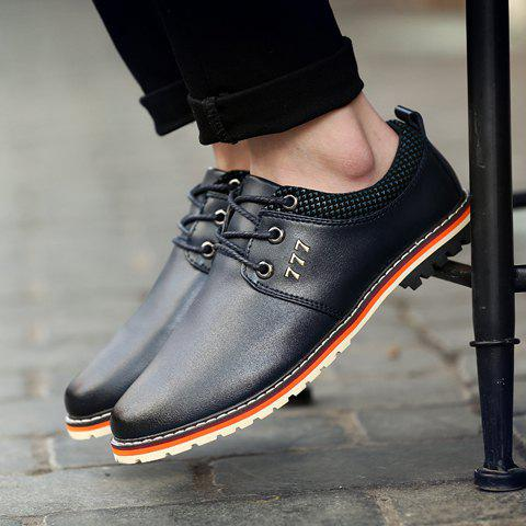 Fashion Simple PU Leather and Lace-Up Design Formal Shoes For Men - 41 BLACK Mobile