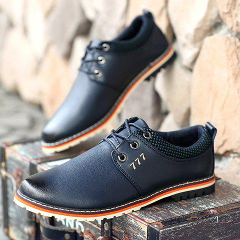 Shop Simple PU Leather and Lace-Up Design Formal Shoes For Men - 40 BLUE Mobile