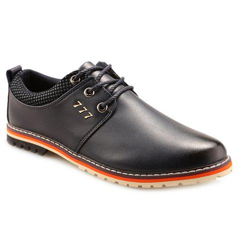 Shop Simple PU Leather and Lace-Up Design Formal Shoes For Men - 41 BLUE Mobile