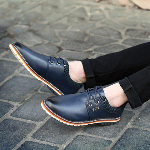 Fashion Simple PU Leather and Lace-Up Design Formal Shoes For Men - 41 BLUE Mobile