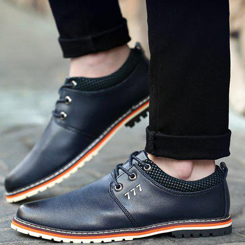 Fashion Simple PU Leather and Lace-Up Design Formal Shoes For Men - 44 BLUE Mobile