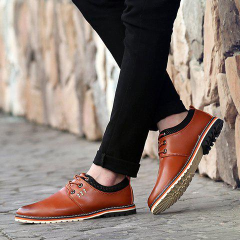 Buy Simple PU Leather and Lace-Up Design Formal Shoes For Men - 42 BROWN Mobile