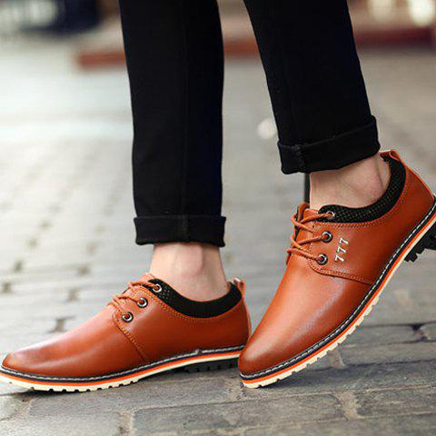 Trendy Simple PU Leather and Lace-Up Design Formal Shoes For Men - 42 BROWN Mobile