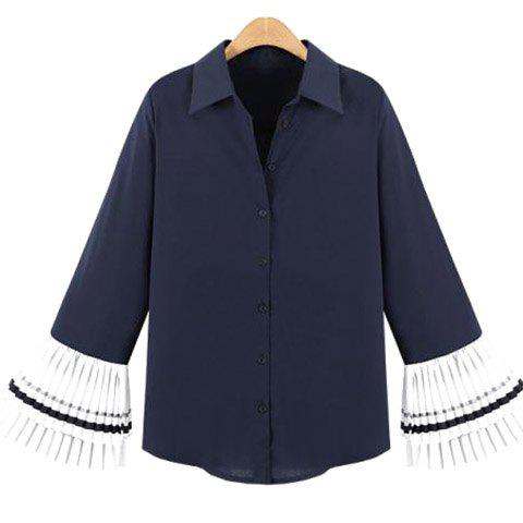 Fashion Chic Bell Sleeves Splice Button Embellished Women's Blouse