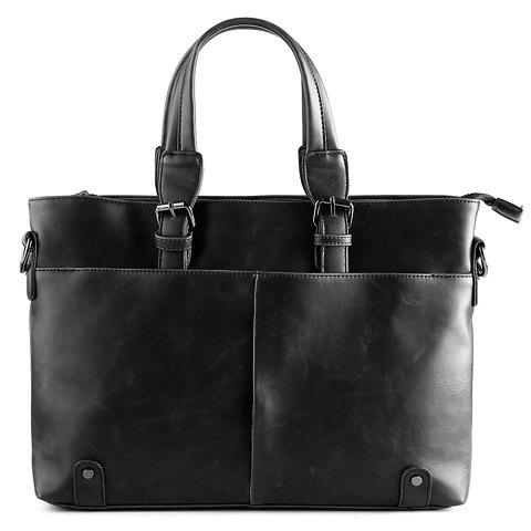 Discount Fashionable Solid Colour and Buckles Design Briefcase For Men