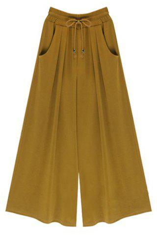 Cheap High-Waisted Plus Size Wide Leg Palazzo Pants - XL GINGER Mobile