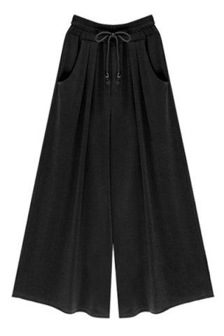Online High-Waisted Plus Size Wide Leg Palazzo Pants - 3XL BLACK Mobile
