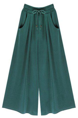 Cheap High-Waisted Plus Size Wide Leg Palazzo Pants - XL BLACKISH GREEN Mobile