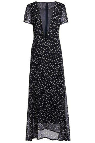 Store Low Cut Stars Print Maxi Dress for Summer - M DEEP GRAY Mobile