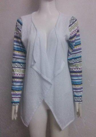 Stylish Collarless Long Sleeve Printed Draped Women's Thin Cardigan