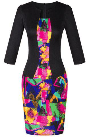 Online OL Women's Jewel Neck 3/4 Sleeve Colored Printed Faux Twinset Design Dress